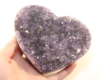 """4-3/8"""" AMETHYST GEODE Hand Carved Heart From BRAZIL 1 lb. 0.8 oz. Crystal Geode Heart Shaped Paperweight/Worry Stone/Palm Stone"""