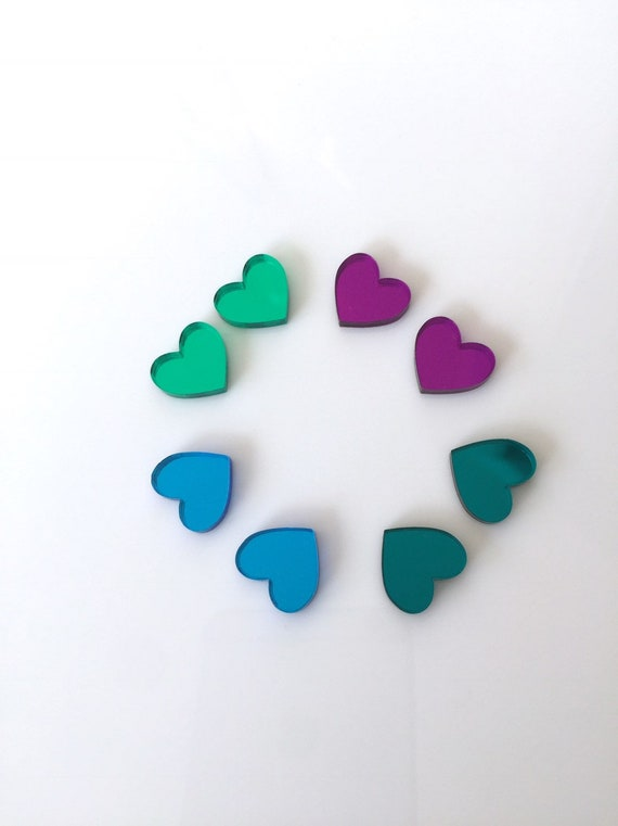 Assorted coloured perspex hearts