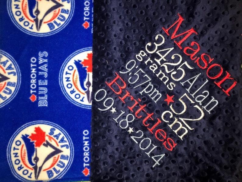 Personalized Embroidery sports fan Baseball Blanket Toronto Blue Jays Navy Baby Shower Gift Minky Blanket Adult Blanket Fleece