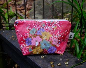 Project Bag Canvas Makeup Bag Instax Case Japanese Fabric Bag Kimono Fabric Floral Pouch Large Make Up Bag Floral Purse Organizer Pouch