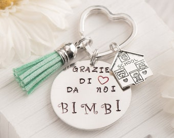 best teacher gift ideas, apple, made to order, personal keychain teacher quotes, thanks for helping me grow, gift for nanny present