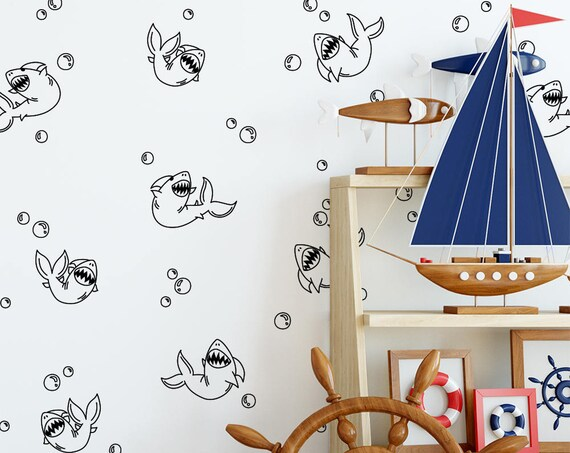 Sharks & Bubbles - Shark Decals, Bubble Decals, Shark Bite, Cute Sharks, Gift for Son, Son Gift, Kid Gift, Nephew Gift, Gift Ideas