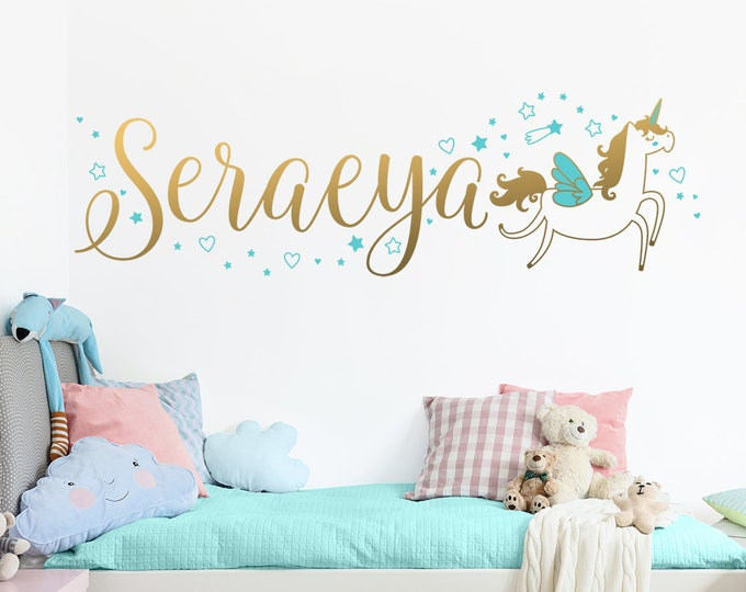 Custom Name Vinyl Decal, Personalized Name Vinyl Decal, Personalized Kids Name, Custom Kids Name, Custom Nursery Decal, Unicorn Wall Decal
