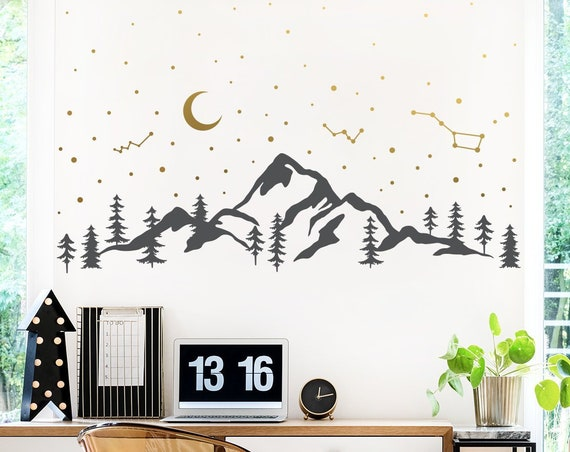Mountains and Night Sky Decal - Moon Stars Decal, Mountains Decal, Forest Scene Decal, Hiking Decal, Camping Decal, Constellations Decal