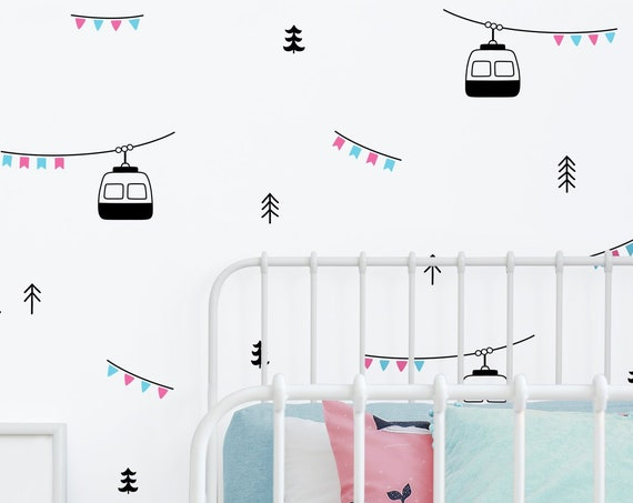 Ski Lift Wall Decals - Woodland Decals, Nursery Decor, Kids Room Decor, Wall Stickers, Nursery Decals, Tree Decals