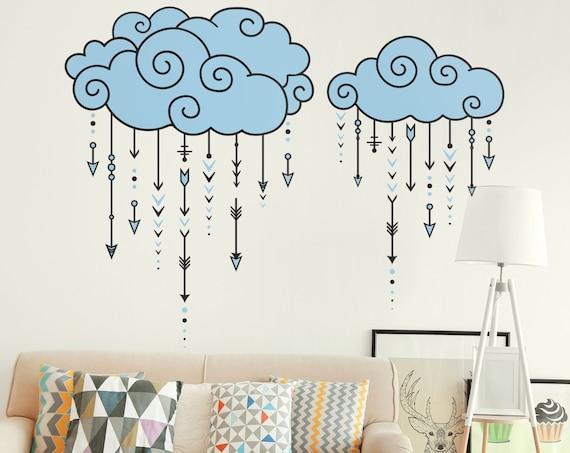 Swirly Clouds Raining Arrows - Multicolored Geometric Decal, Nursery Decal, Arrow Wall Decal, Tribal Decal, Modern Wall Decal, Cloud Decal