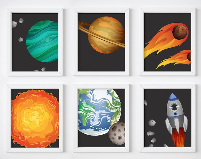 Wall Art Prints - Space Digital Prints, Nursery Prints, Printable Wall Art, Digital Download, Planets Art Prints, Minimalist, Outer Space