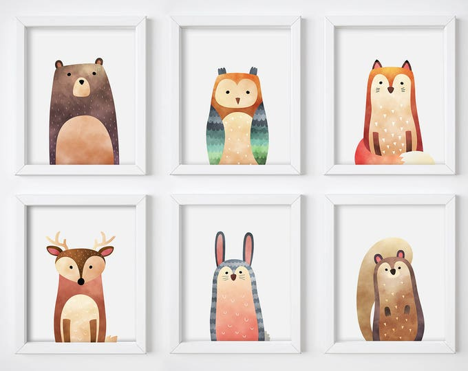 Wall Art Print - Watercolor Animals Digital Prints, Nursery Prints, Printable Wall Art, Digital Download, Woodland Animals Art Prints