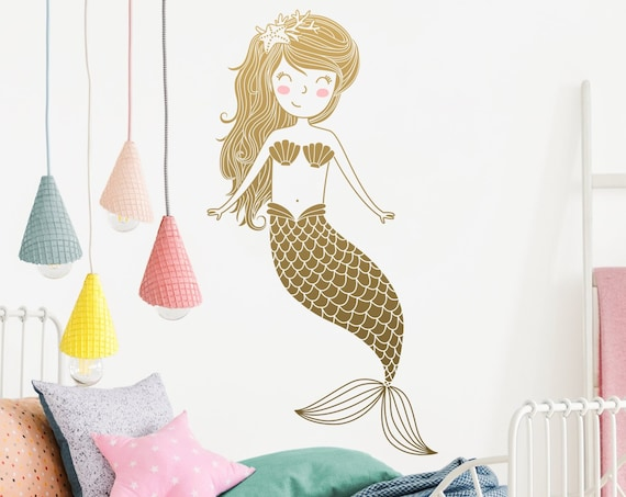 Mermaid Wall Decal - Kids Room Decal,  Nursery Decal, Mermaid Decor, Wall Decor, Nursery Decor, Wall Art, Kids Room Decor, Mermaid, Decal