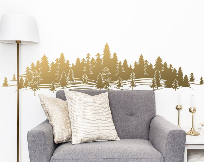 Forest Treescape Wall Decal - Mountain Decal, Pine Tree Wall Decals, Forest Nursery, Gift for Him, Man Gift, Guy Friend Gift, Boyfriend Gift