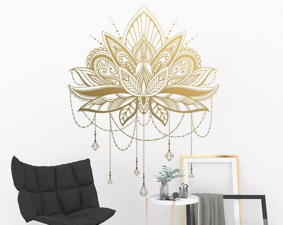 Mandala Wall Decal - Mandala Lotus Decal, Gift for Her, Unique Mandala Decor, Gift for Sister, Best Friend Gift, Henna Design Decal, Mandala