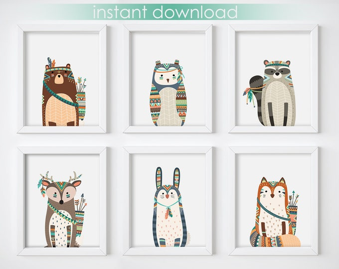 Wall Art Print - Tribal Animals Digital Print, Nursery Print, Printable Wall Art, Digital Download, Woodland Animals Art Print, Minimalist
