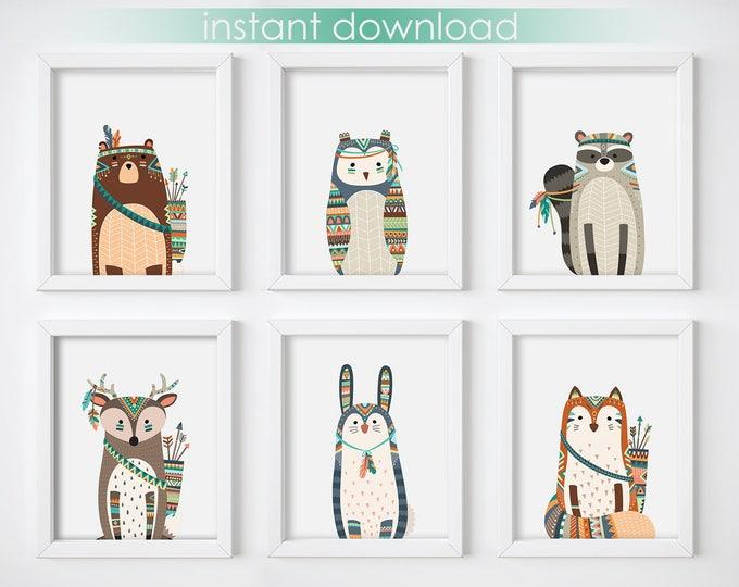 Wall Art Print - Tribal Animals Digital Print, Nursery Print, Printable Wall Art, Digital Download, Woodland Animals Art Print, Minimalist