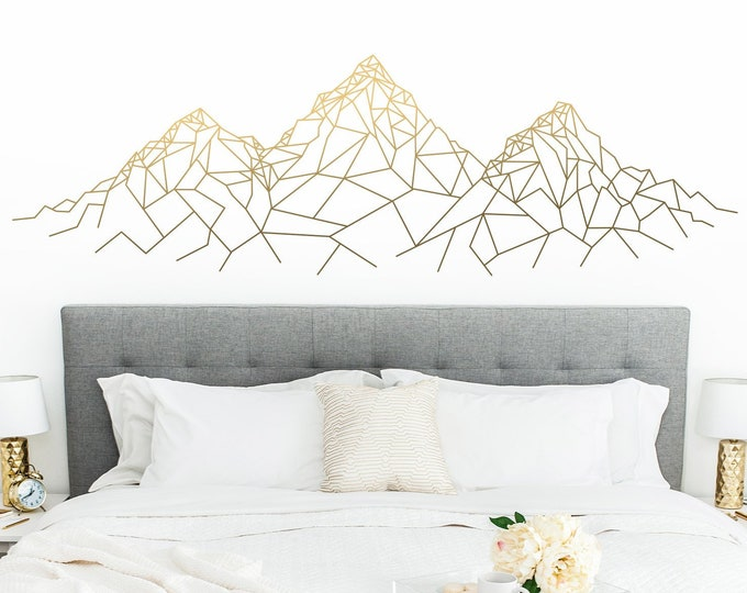 Geometric Mountain Wall Decal - Mountain Decal, Geometric Decal, Mountains Nursery, Gift for Him, Man Gift, Guy Friend Gift, Boyfriend Gift