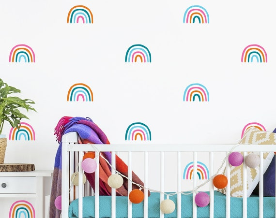 Rainbow Decals - 4 Color Rainbow Stickers, Rainbow Decor, Colorful Wall Decor, Wall Stickers, Kids Room Decor, Rainbow Vinyl Wall Decals