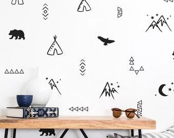 Wild Desert Designs Wall Decals - Nursery Decals, Tribal Decals, Kids Wall Decals, Vinyl Wall Decals, Desert Decals, Teepee Decals