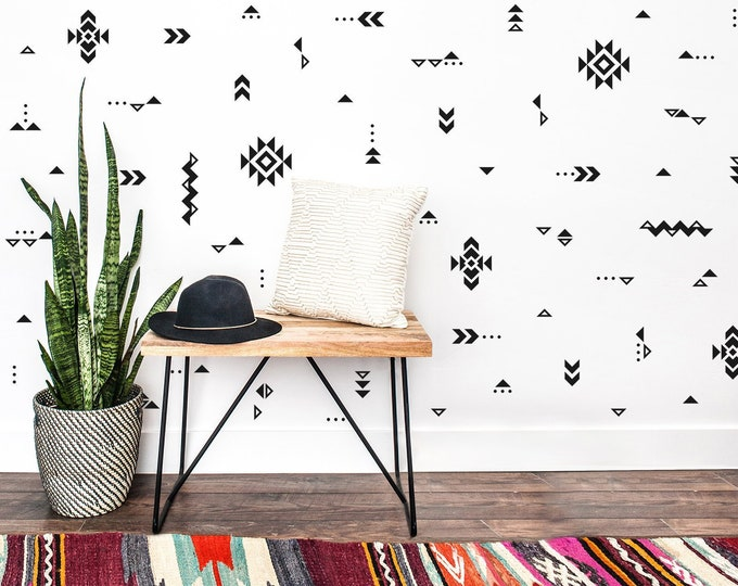 Tribal Patterns Wall Decals - Nursery Decals, Gift for Her, SouthWestern Pattern Decor, Native American Pattern Design, Tribal Nursery Decal