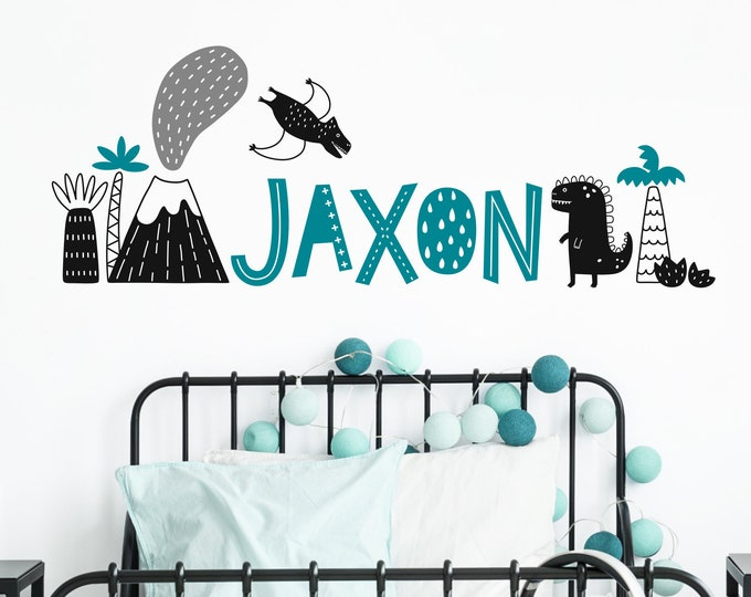 Custom Name Vinyl Decal - Personalized Name Vinyl Decal, Dinosaur Name, Dinosaur Themed Nursery, Custom Nursery Decal, Jurassic Dinos Decal