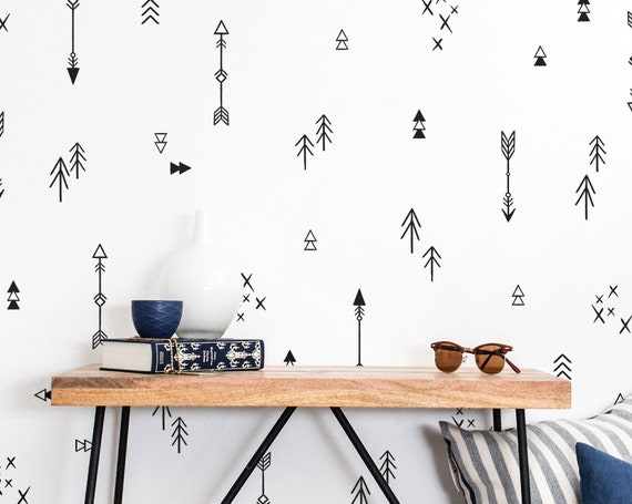 Tribal Arrows & Triangles Wall Decals - Nursery Decals, Tribal Arrow Decals, Kids Wall Decals, Vinyl Wall Decals, Cute Tribal Nursery Decals