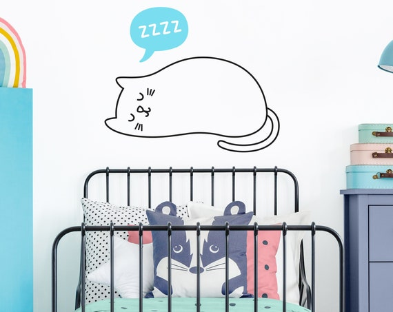 Cat Wall Decal - Nursery Decal, Kids Room Decor, Nursery Decor, Cute Cat Wall Sticker, Kids Wall Art, Nursery Wall Decor, Cat Lover Gift