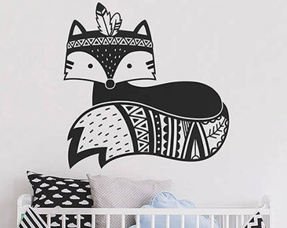 Fox Wall Decal - Tribal Fox Nursery Decal, Woodland Fox Wall Decal, Tribal Nursery Wall Sticker, Cute Fox Vinyl Wall Decal