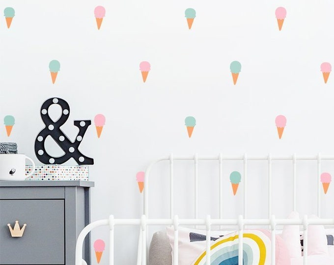 Ice Cream Cone Wall Decals - Colorful Wall Decals, Nursery Decals, Kids Room Decals, Modern Wall Decals, Ice Cream Stickers