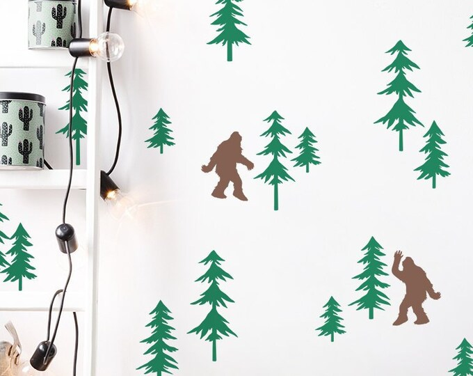 Friendly Sasquatch in the Forest Wall Decal Set - Bigfoot Decals, Forest Decals, Pine Tree Decals, Woodland Nursery Decals, Sasquatch Decals