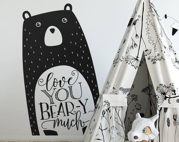 Love You Bear-y Much Wall Decal - Nursery Decal, Vinyl Wall Decal, Woodland Animal Decal, Tribal Nursery, Bear Decal, Woodland Nursery Decal
