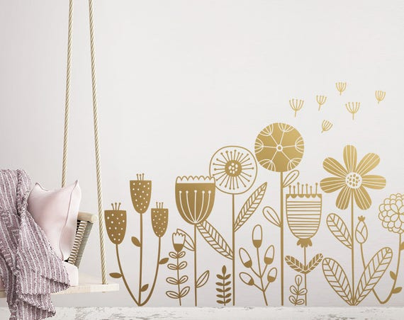 Flower Garden Wall Decal - Flower Decals, Dandelion Decal, Girls Room Decals, Girls Nursery Decals, Flower Stickers, Flowers Wall Decor