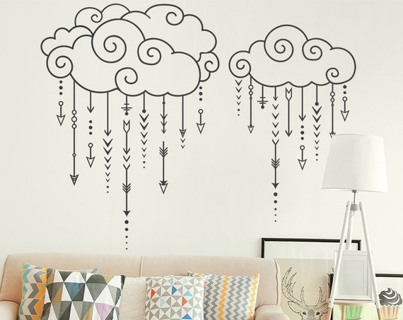 Swirly Clouds Raining Arrows - Nursery Decal, Geometric Decal, Arrow Wall Decal, Tribal Decal, Modern Wall Decal, Cloud Decal