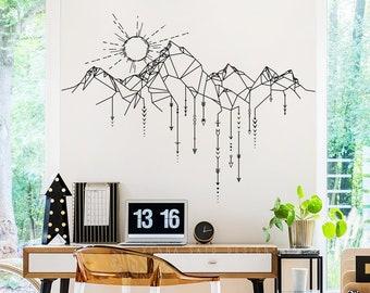Geometric Mountain & Sun Wall Decal - Mountain Decal, Geometric Decal, Arrows Decal, Sun Decal, Mountains Nursery, Gift for Him, Man Gift