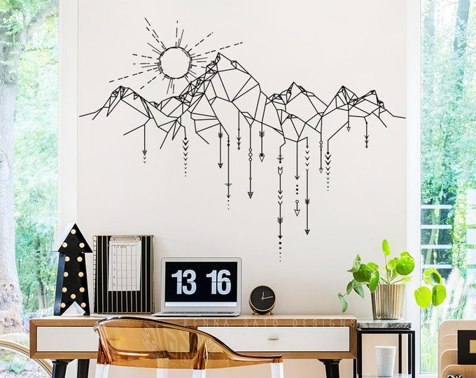 Geometric Mountain & Sun Wall Decal - Mountain Decal, Geometric Decal, Arrows Decal, Sun Decal, Mountains Nursery, Gift for Him, Man Gift