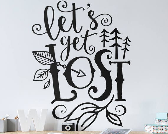 Let's Get Lost Wall Decal - Nursery Decor, Travel Decal, Woodland Nursery Decal, Wall Decal, Wall Sticker, Wanderlust Decal, Adventure Decal