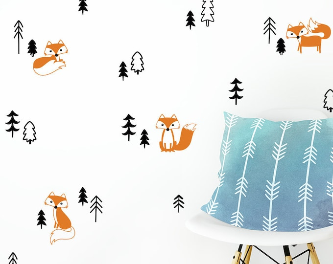 Cute Foxes in the Forest Wall Decal Set - Fox Decals, Forest Decals, Pine Tree Decals, Woodland Nursery Decals, Foxes Decals, Gift for Her