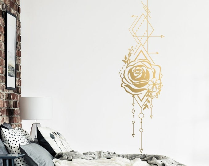 Geometric Rose & Arrows Wall Decal - Unique Vinyl Wall Decal, Rose Decal, Bedroom Decal, Floral Decal, Wall Decor, Technical Drawing Decal