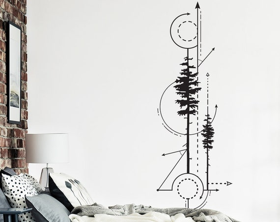 Geometric Pine Trees & Arrows Decal -Technical Drawing Decal, Geometric Decal, Arrow Wall Decal, Tree Decal, Modern Wall Decal, Forest Decal