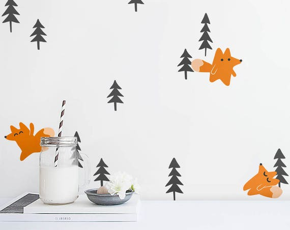 Foxes and Pine Trees Wall Decals - Woodland Wall Decals, Forest Wall Decals, Fox Decals, Animal Decals, Tree Wall Decals, Woodland Nursery