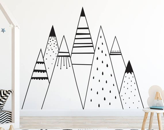 Mountain Range Wall Decal - Kids Mountain Wall Art, Mountain Range, Son Gift, Nephew Gift, Nordic Mountains, Large Mountain Decal, Baby Gift
