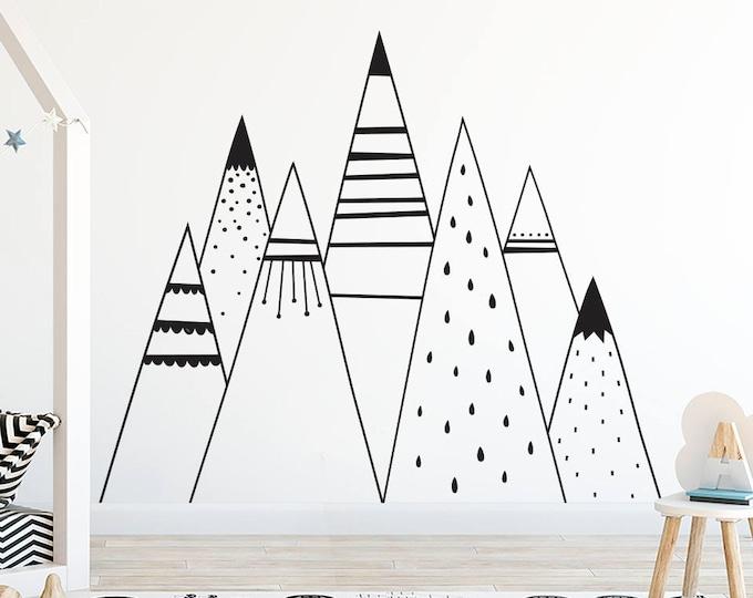 Mountain Range Wall Decal - Kids Mountain Wall Art, Mountain Range, Son Gift, Nephew Gift, Nordic Mountains, Large Mountain Decal, Baby Gift