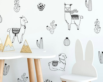 Alpacas and Cacti Wall Decals - Nursery Decals, Cactus Decals, Alpaca Decals, Llama Decals, Nursery Wall Stickers, Alpaca Stickers, Llamas