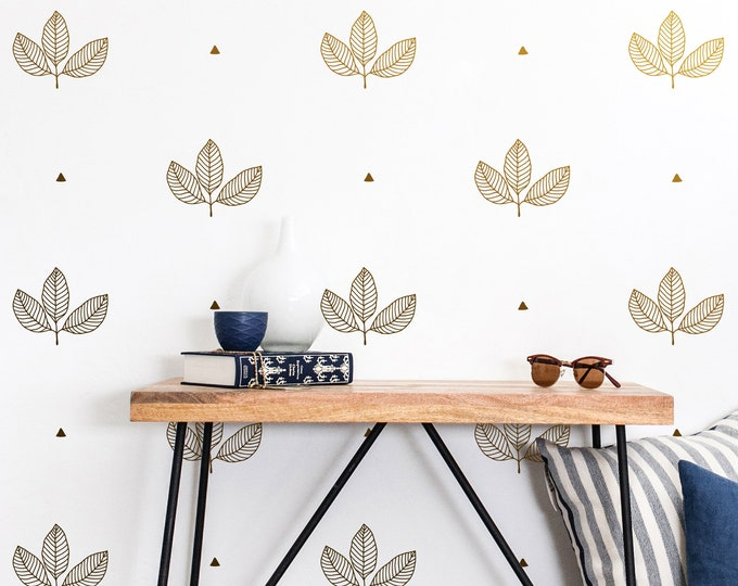 Leaf and Triangle Wall Decals - Wall Stickers, Nursery Decals, Wall Decor, Unique Gift, Kids Room Decor, Geometric Wall Art, Leaf Wall Art