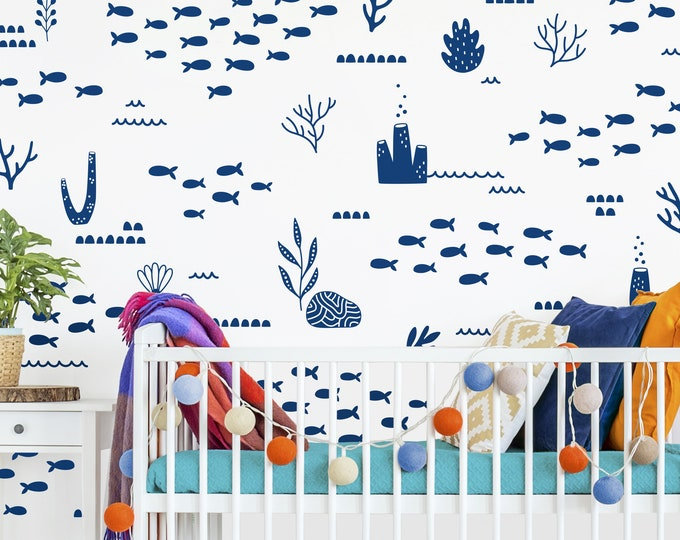 Ocean Wall Decals - Nautical Wall Decor, Nursery Decals, Kids Bedroom Decor, Removable Wall Stickers, Baby Shower Gift, Ocean Animals
