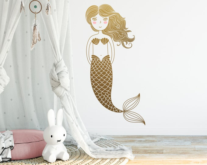 Mermaid Wall Decal - Kids Room Decal,  Nursery Decal, Mermaid Decor, Wall Decor, Nursery Decor, Wall Art, Kids Room Decor, Gifts, Nursery