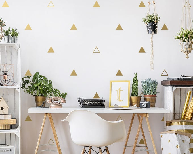 Triangle Wall Decals - Geometric Wall Decal Set, Vinyl Wall Decals, Gold Decals, Wall Decor, Scandinavian Decor, Unique Geometric Wall Art