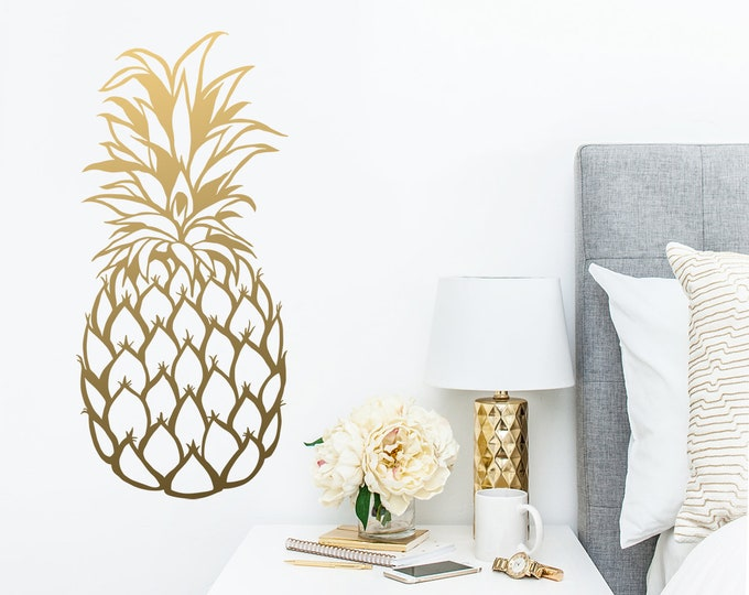 Pineapple Wall Decal - Large Wall Decal, Gold Vinyl Decals, Silver Decals, Pineapple Decor, Unique Gift Idea, Home Decor, Wall Art
