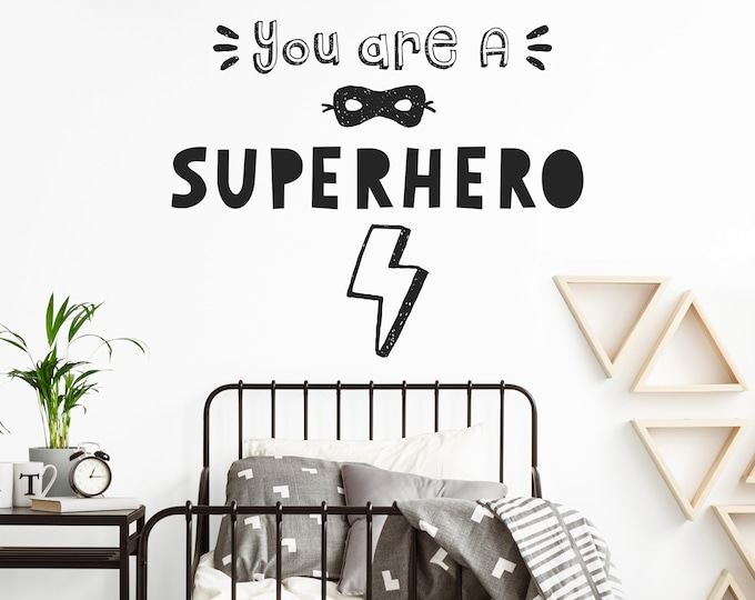 Superhero Wall Decal - Nursery Wall Sticker, Superhero Bedroom Decor, Kids Wall Decor, Boys Room Wall Quote, Nursery Sign
