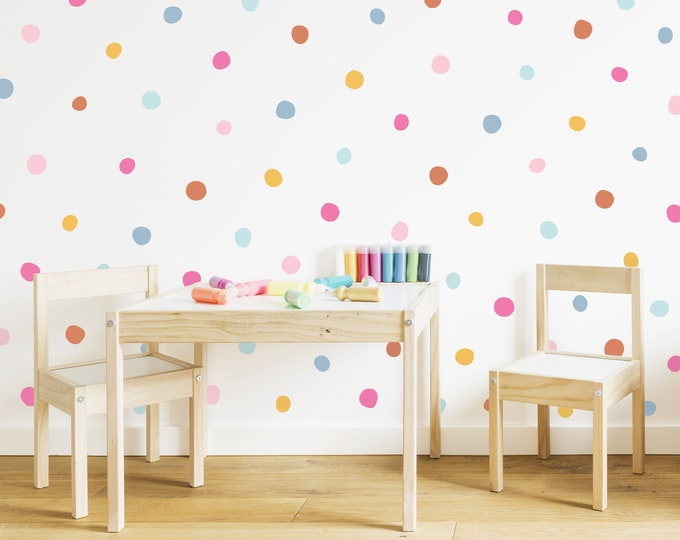 Rainbow Polka Dot Wall Decals - Removable Wall Stickers, Kids Room Wall Decor, Nursery Wall Art, Peel-and-Stick Confetti Decals