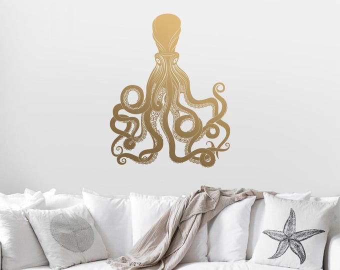 Octopus Wall Decal - Gold Vinyl Wall Decal, Modern Decals, Gold Home Decor Great for Gifts & More!