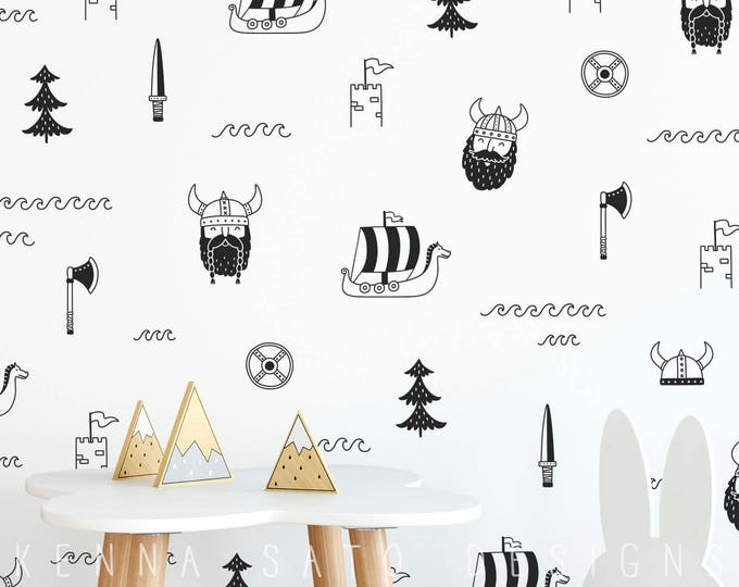 Viking Wall Decals - Wall Decor, Vinyl Decals, Boys Room Decor, Girls Room Decor, Scandi Decor, Gift for Mom, Nursery Decor, Gift for Kid