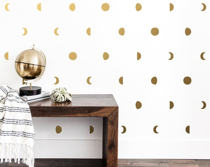 Moon Phase Wall Decals - Moon Phases Decor, Moon Wall Decal, Moon Phase Wall Art, Celestial, Zodiac Decor, Zodiac Gift, Unique Wall Decor